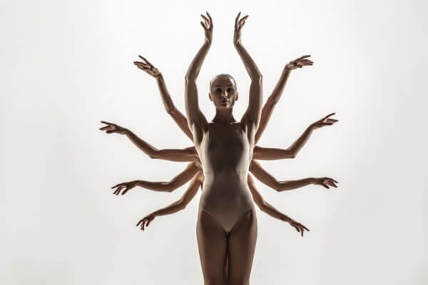 Contemporary art ballet lady and more arms